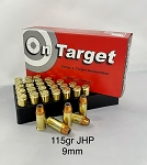 9mm, 115 grain JHP, New Brass, 50 rounds-Hollow Point-Defensive Ammunition